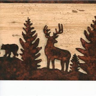 Forest Animals Brown Silhouette Wallpaper Border -  Chesapeake Wallcovering