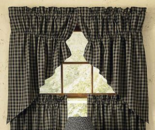 Park Designs Sturbridge Black Lined Gathered Curtain Swag 72in x 63in