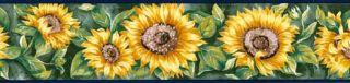 Sunflower and Foliage Wallpaper Border