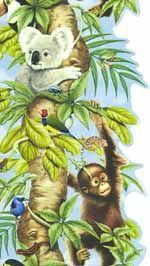 Jungle Animals In Tree Vertical Wallpaper Border - Village