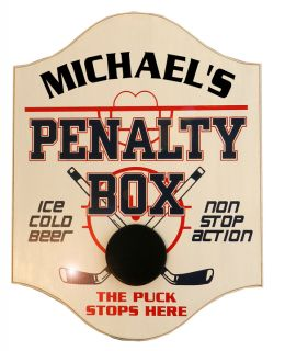 Personalized Wood Sign - Penalty Box - The Puck Stops Here