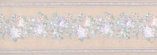 Purple & Blue Flower Wallpaer Border - Concord Wallcoverings