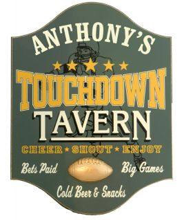Personalized Wood Sign - Touchdown Tavern - Cheer, Shout, Enjoy