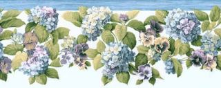 Pansies and Hydrangea Wallpaper Border