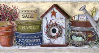 Crackle Beige Birdhouse Wall Paper Border- 1 Roll Left