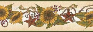 Sunflowers and Tin Stars Wallpaper Border