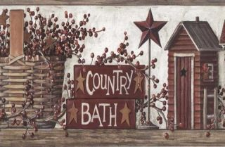 Brown Country Wash Room Wallpaper Border