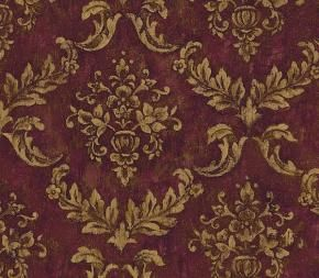 Burgundy and Gold Brocade Wallpaper