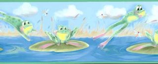 Green Leaping Frog Wallpaper Border