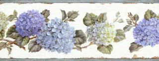 Nantucket Hydrangea Wallpaper Border - 3 rolls left