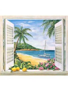 Tropical Paradise Window Accent Mural