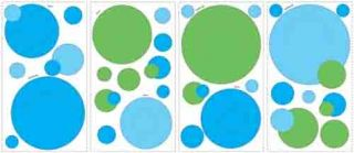 Blue and Green Peel and Stick Wall Decal Pockets