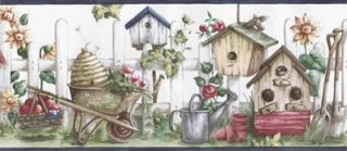 Birdhouses & Picket Fence Wallpaper Border - Hometrends