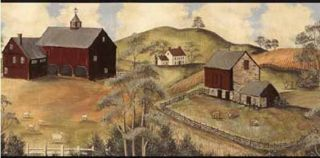 Primitive Country Scene Wallpaper Border