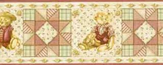 Quilted Country Bear and Button Wallpaper Border
