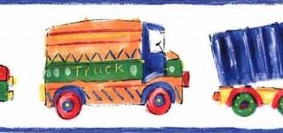 White Childrens Truck Drawing Wall Paper Bord