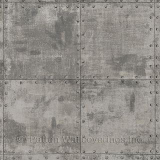 LL36224 Steel Tile Wallpaper Metallic Silver, Brown, Black Illusions Norwall Wallcovering