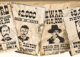 Old West Wanted Posters Wall Paper Border